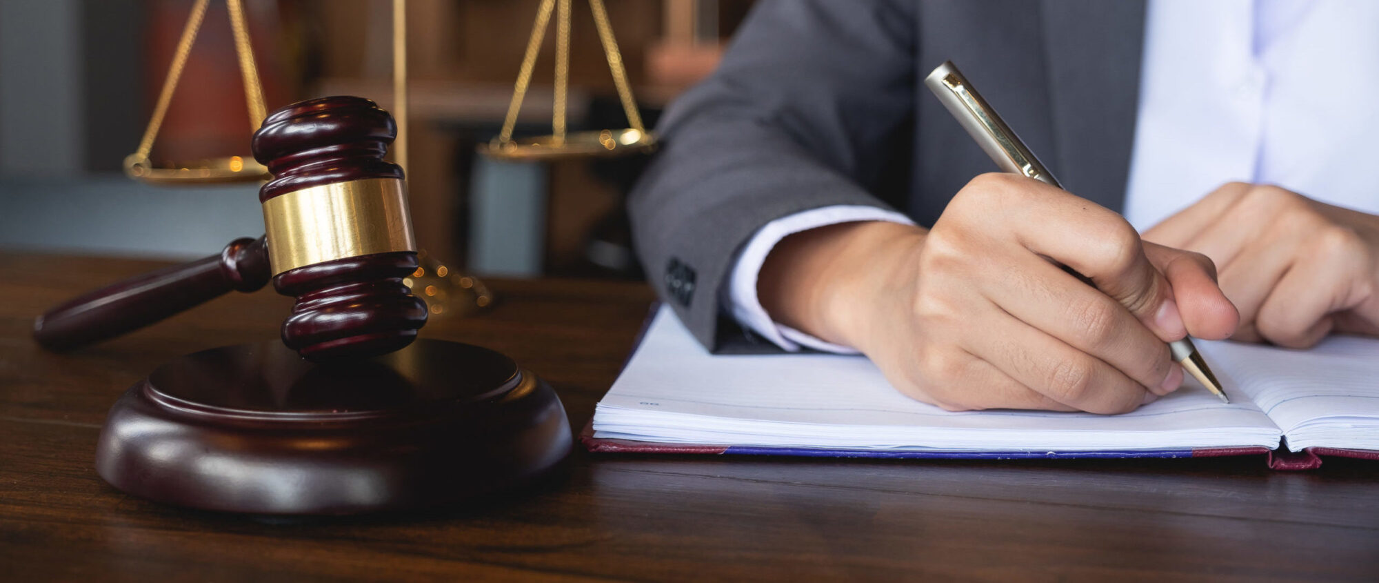 Judge gavel with Justice lawyers, Business woman in suit or lawyer working on a documents. Legal law, advice and justice concept
