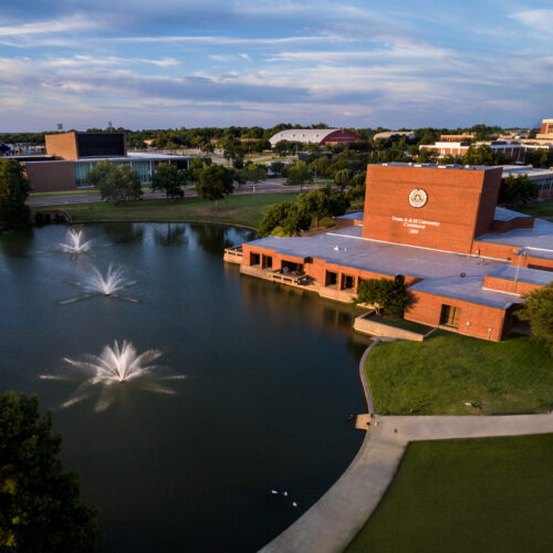 A picture of campus taken by a drone.
