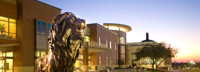 Lion statue at A&M-Commerce