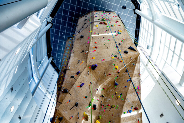 Climbing wall at the Morris Recreation Center.