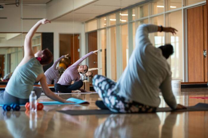 yoga students practicing yoga in studio.