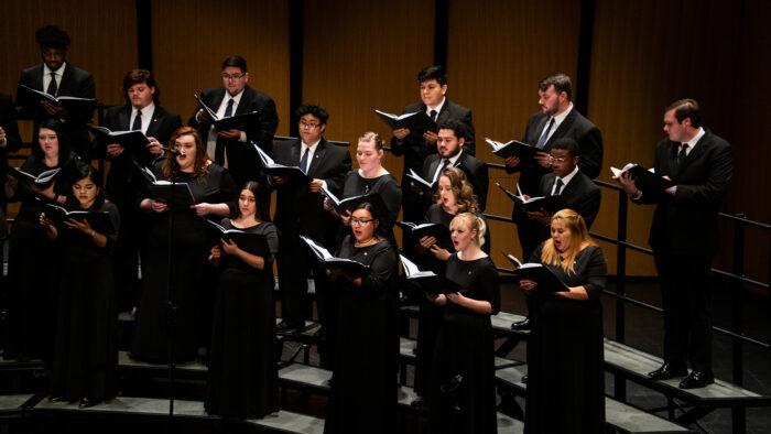 Choir singing at the Moody.