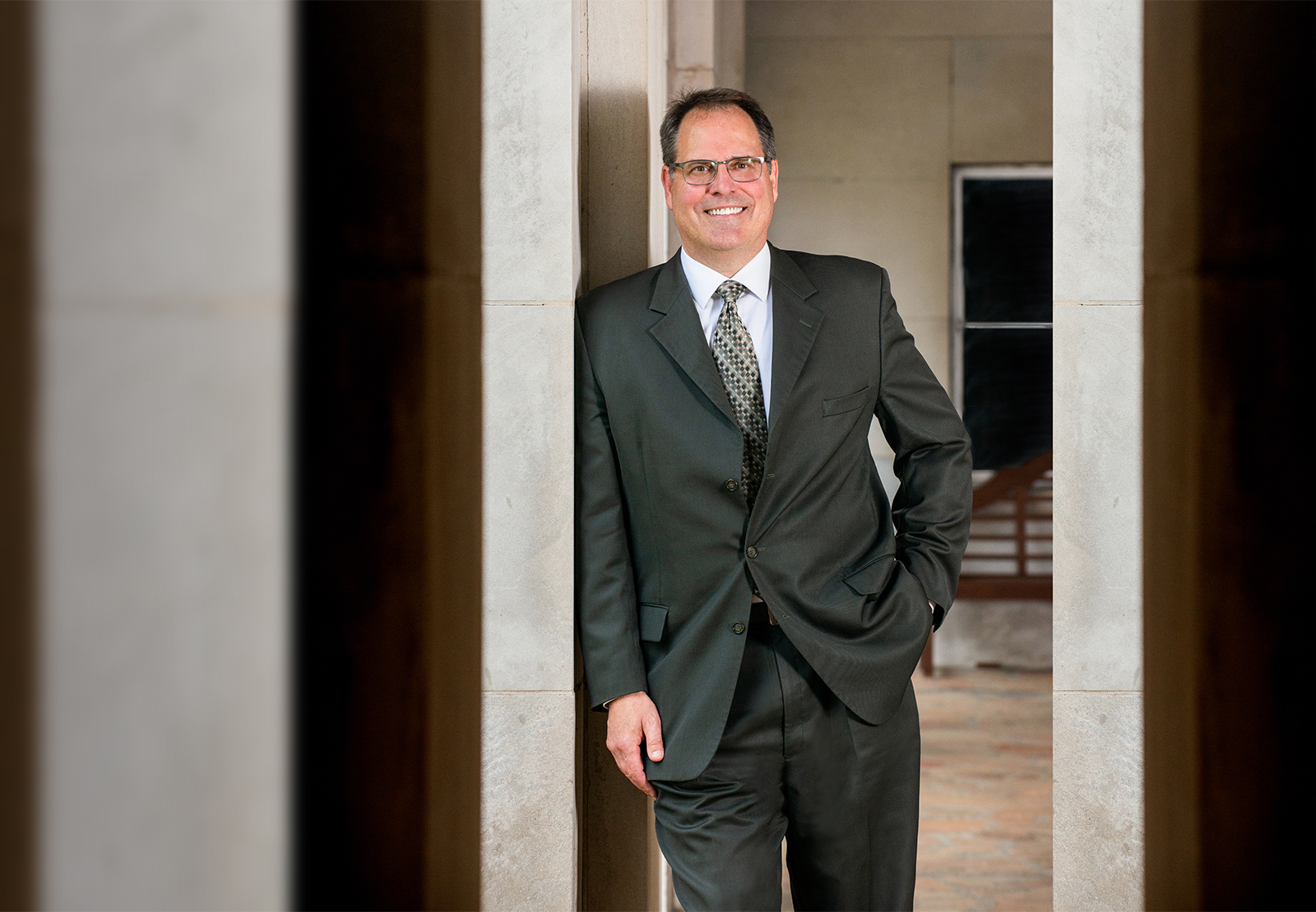 A photo of president Dr. Mark Rubin on campus.