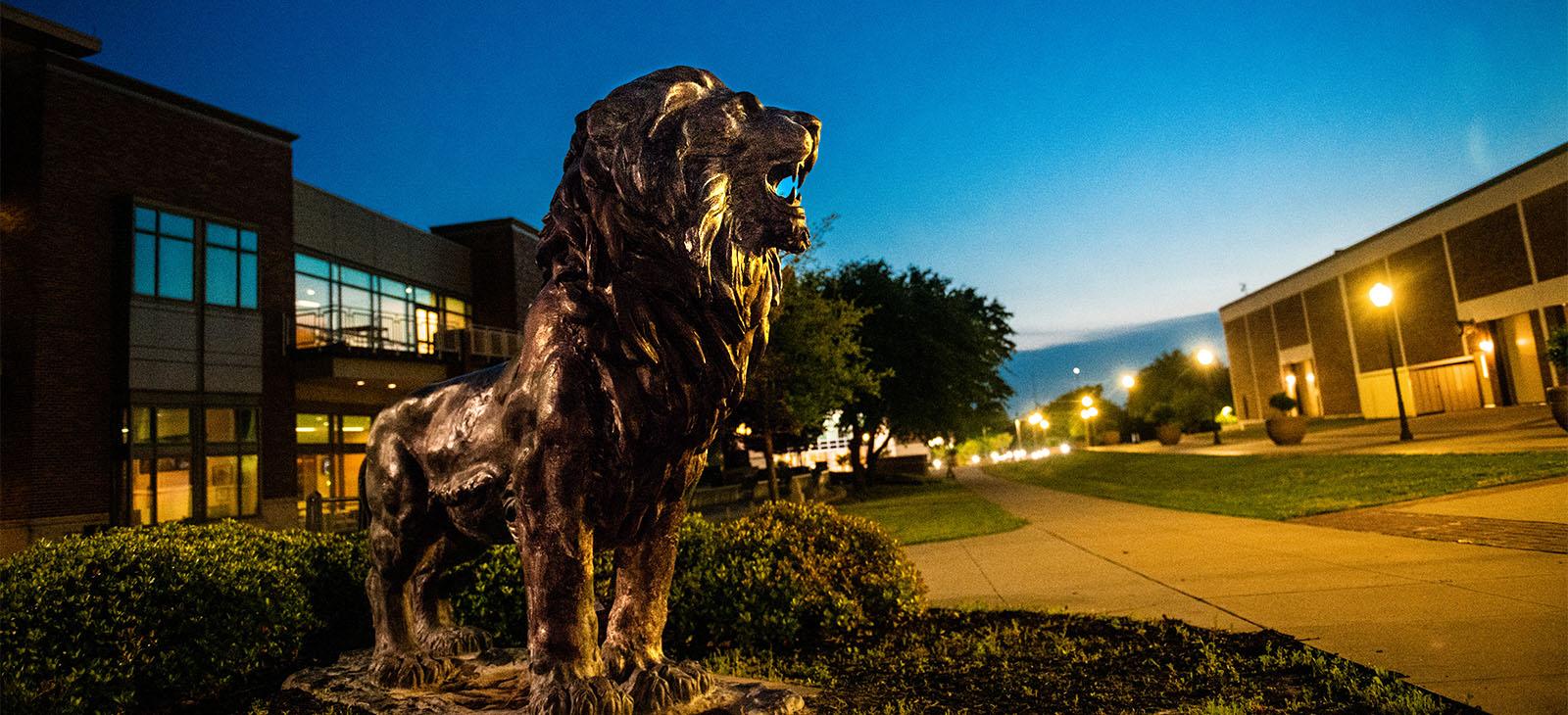 Lion statue on campus.