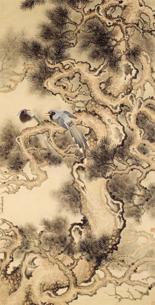 「松林鳥語」是金勤伯大師在筆墨圓融中所表現出畫境的立體與雅趣。(圖/史博館 提供)