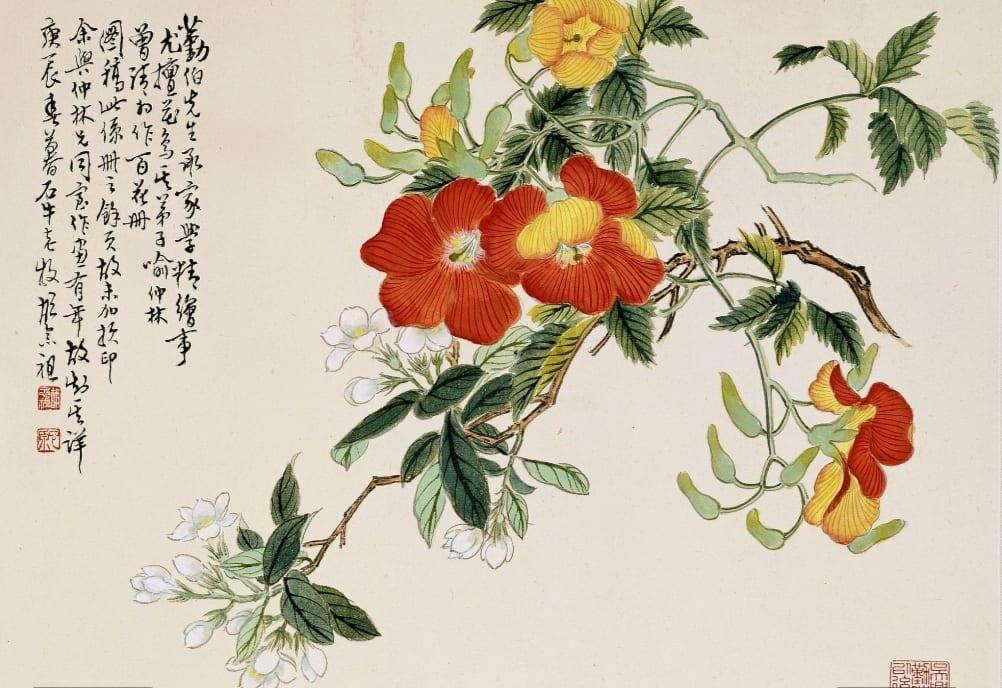 金勤伯的水墨作品「折枝花卉」,兼用雙鉤填彩與沒骨法,備顯意境之美。(圖/史博館 提供)