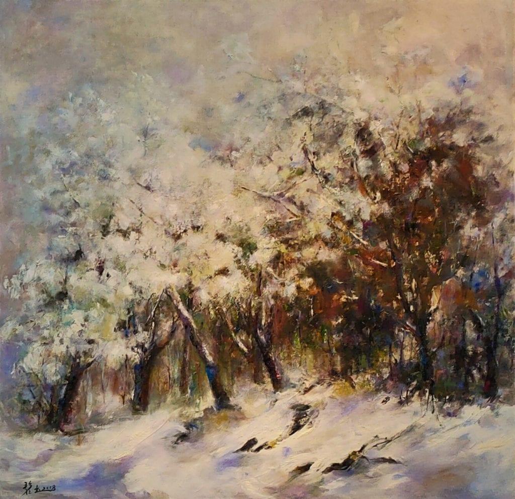 周碧玉老師以冬雪為主題的季節創作,其實有著一段甜蜜的家族行旅。(記者 辛澎祥/攝)