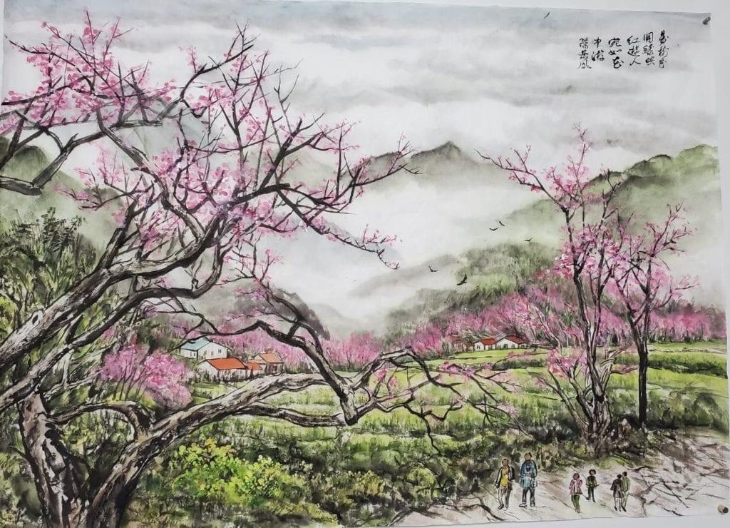 陳岳鳯老師的作品「春風」,藉由梨花盛開寄情,祈禱疫情隨風而逝,涵義優美。