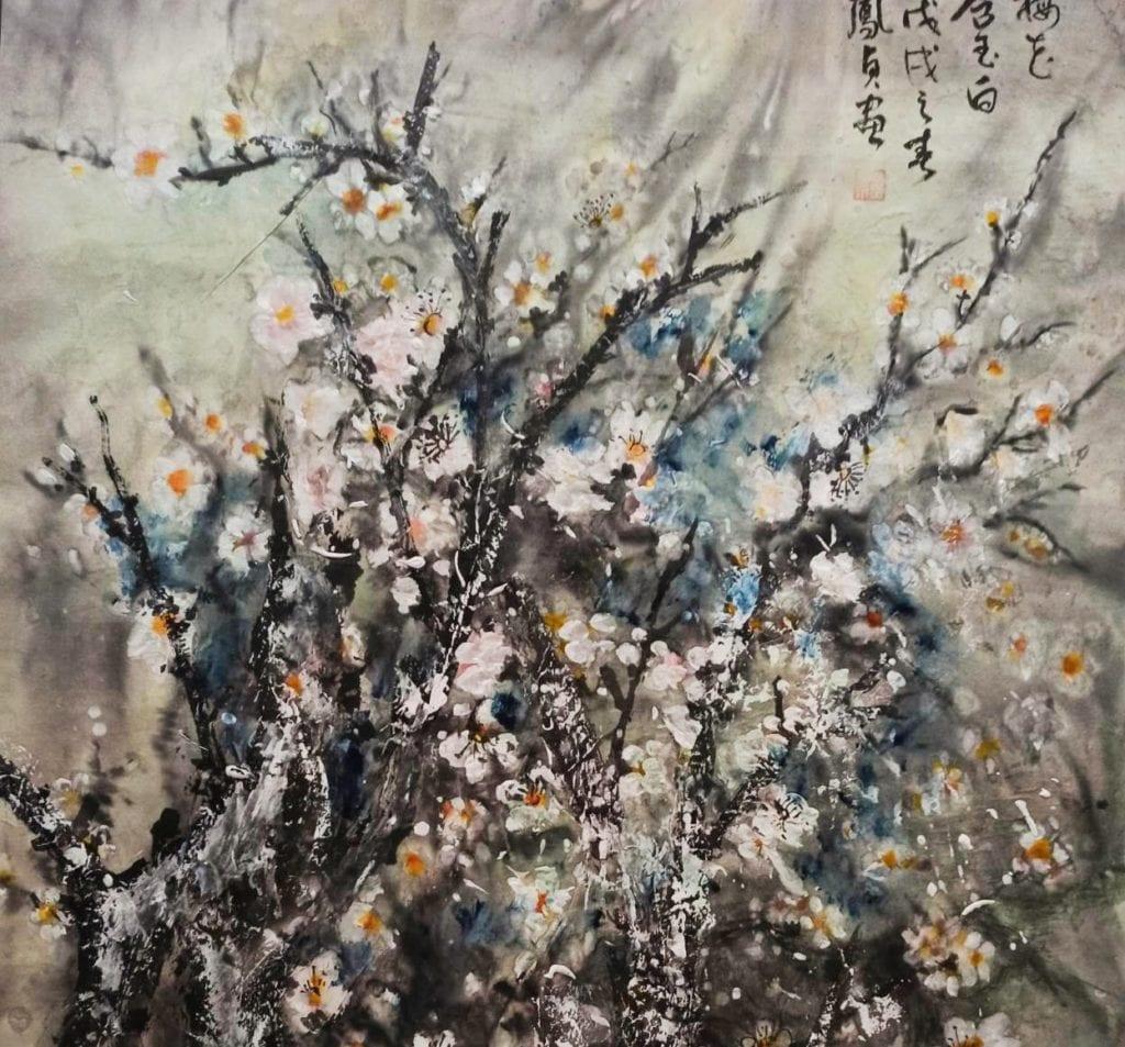 羅鳯貞老師的作品「梅花」,鼓勵全民在疫情期間能堅忍不拔,像梅花般的淬鍊自我,愈挫愈勇。