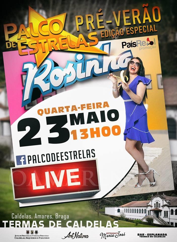 23 DE MAIO ÀS 13H00Cantora Rosinha dá entrevista ao vivo em Caldelas