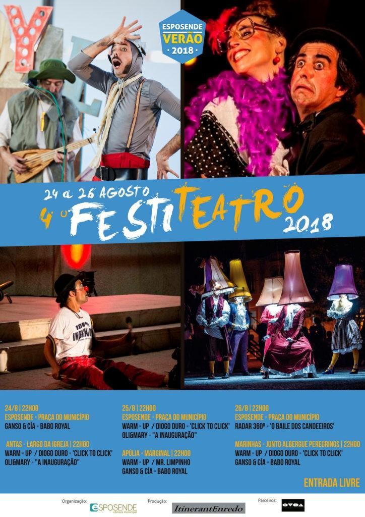 4ª EDIÇÃO DO FESTITEATRO - Festival do Teatro de Rua anima Esposende de 24 a 26 de Agosto