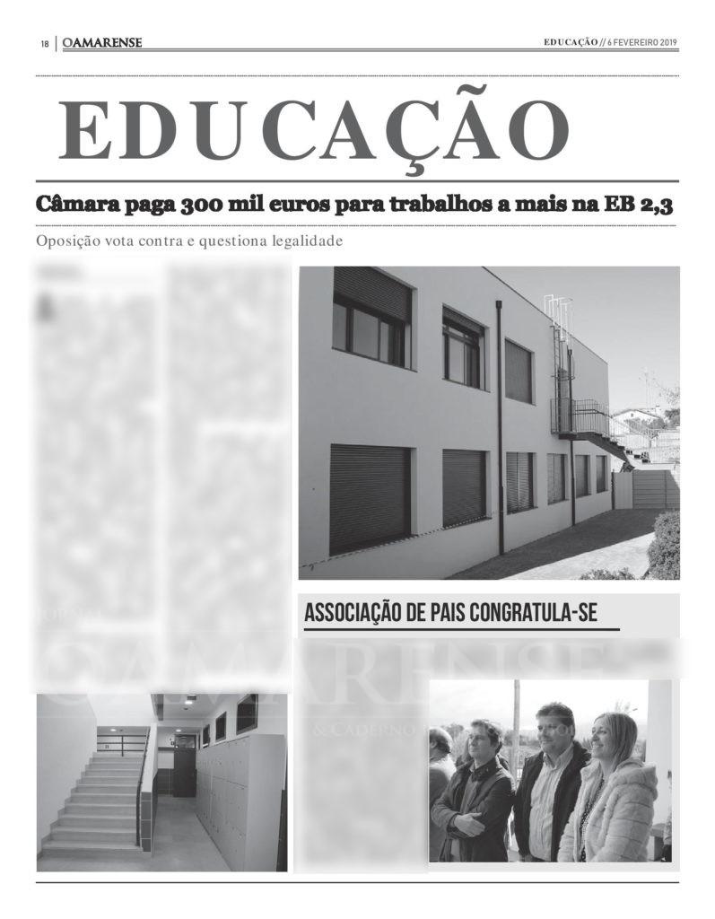 EDIÇÃO IMPRESSA - Câmara paga 300 mil euros para trabalhos a mais na EB 2,3