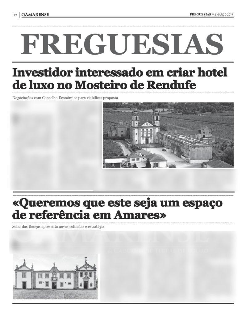 EDIÇÃO IMPRESSA - Investidor interessado em criar hotel de luxo no Mosteiro de Rendufe