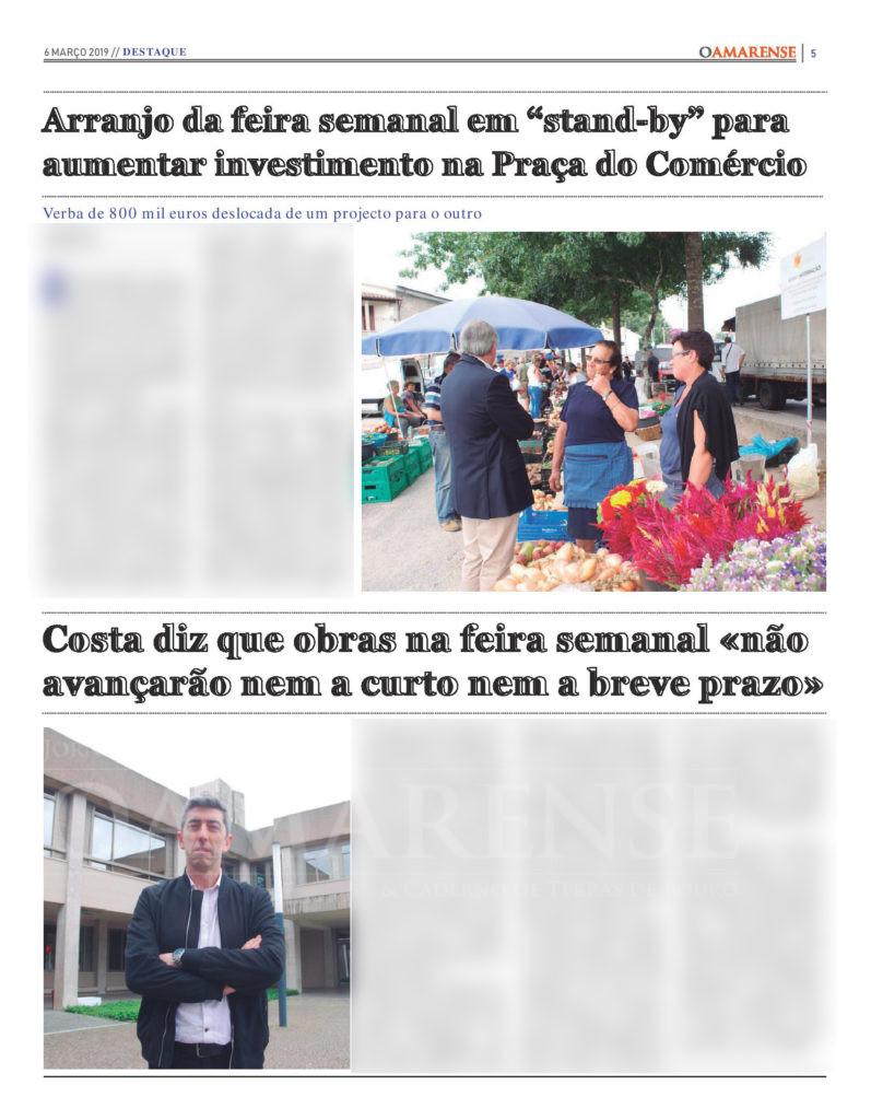"""EDIÇÃO IMPRESSA - Arranjo da feira semanal em """"stand-by"""" para aumentar investimento na Praça do Comércio"""