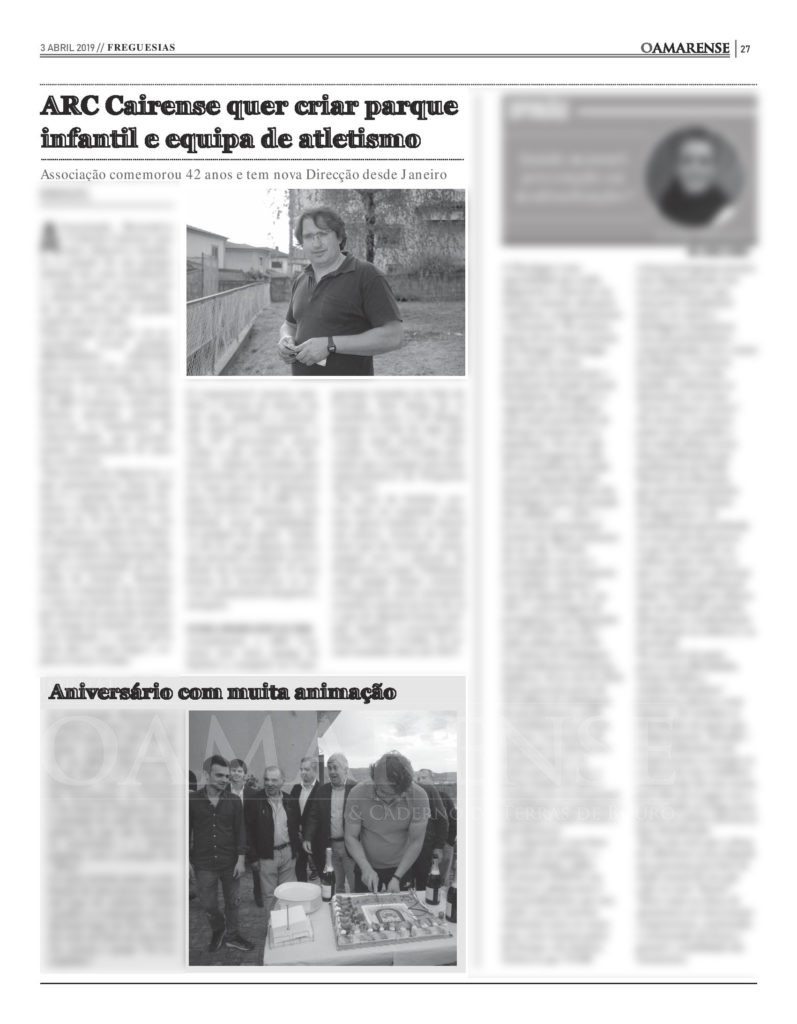 EDIÇÃO IMPRESSA –  ARC Cairense quer criar parque infantil e equipa de atletismo