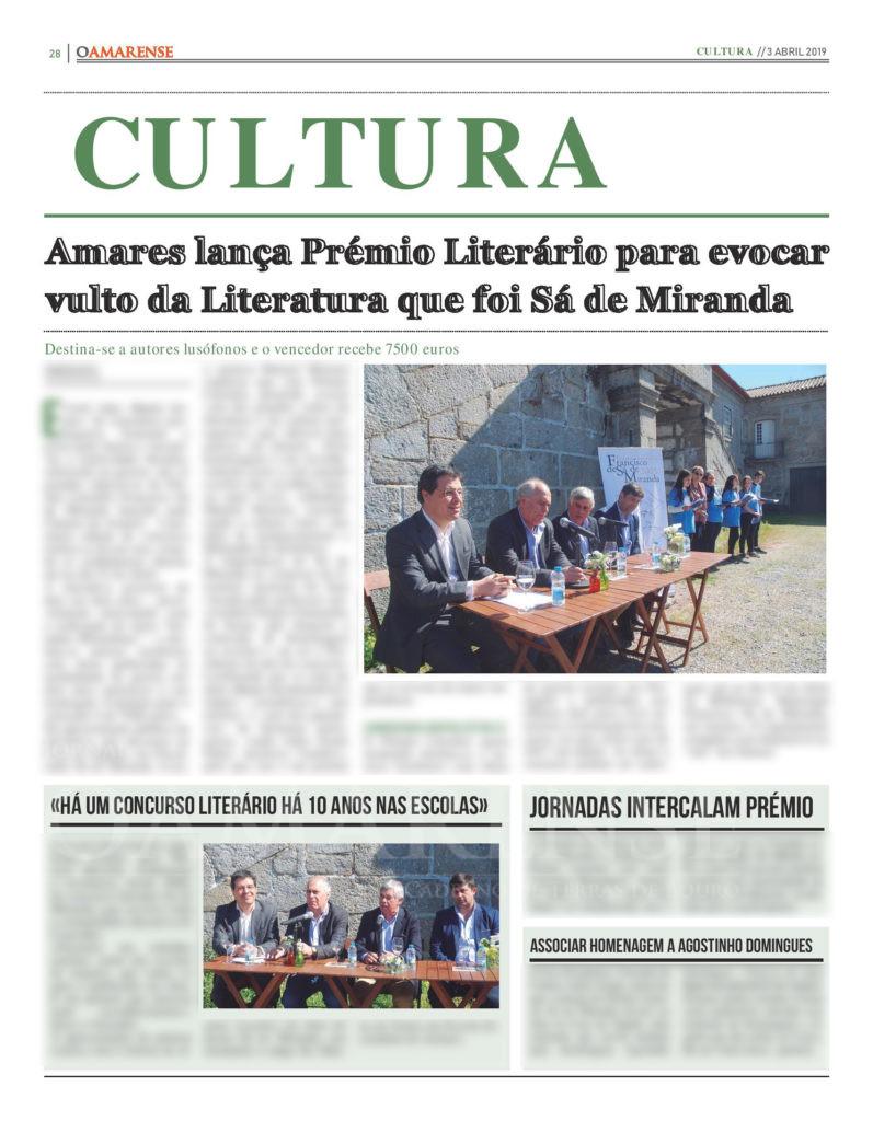 EDIÇÃO IMPRESSA – Amares lança Prémio Literário para evocar vulto da Literatura que foi Sá de Miranda
