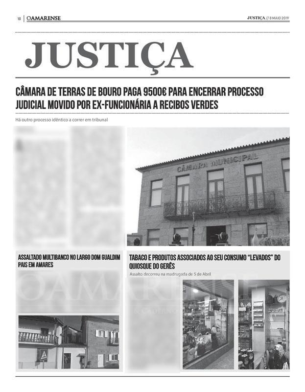EDIÇÃO IMPRESSA – Câmara de Terras de Bouro paga 9500€ para encerrar processo judicial movido por ex-funcionária a recibos verdes