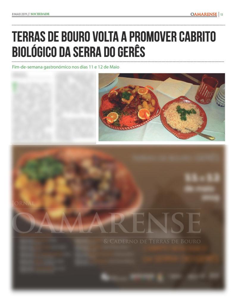 EDIÇÃO IMPRESSA - Terras de Bouro promove cabrito biológico da Serra do Gerês ao longo do fim-de-semana