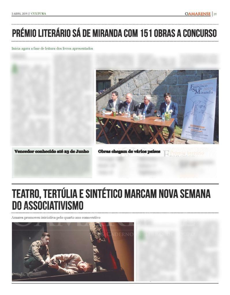 EDIÇÃO IMPRESSA – Prémio Literário Sá de Miranda com 151 obras a concurso