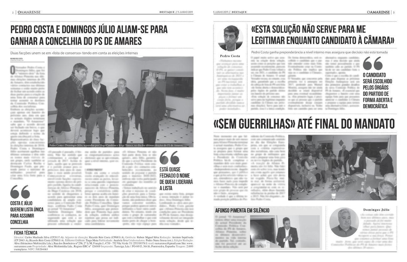 EDIÇÃO IMPRESSA – Pedro Costa e Domingos Júlio aliam-se para ganhar a Concelhia do PS de Amares