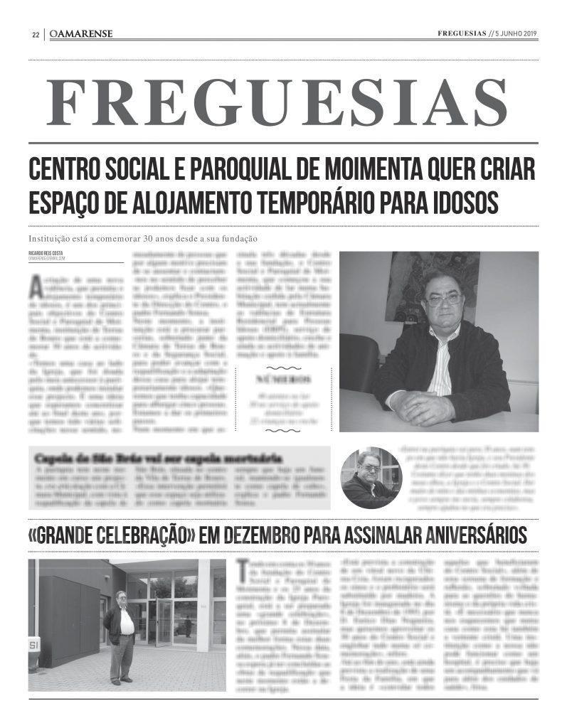 EDIÇÃO IMPRESSA – Centro Social e Paroquial de Moimenta quer criar espaço de alojamento temporário para idosos