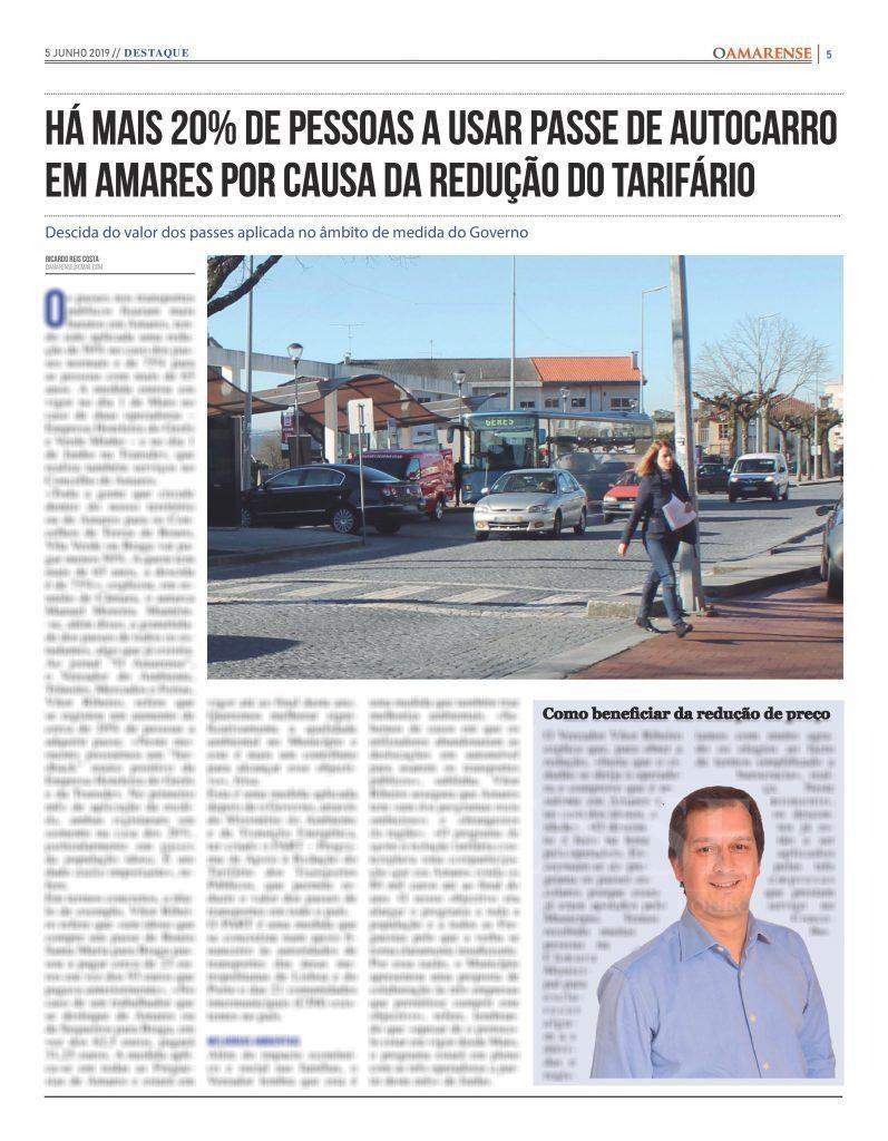 EDIÇÃO IMPRESSA – Há mais 20% de pessoas a usar passe de autocarro em Amares por causa da redução do tarifário