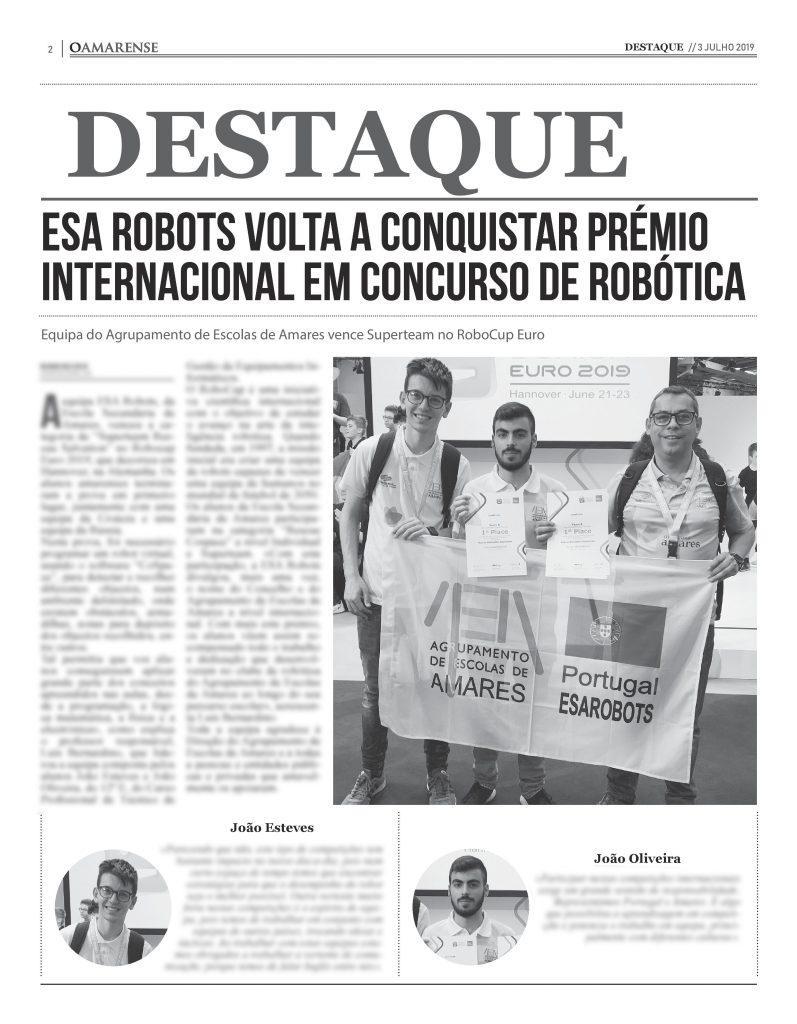 EDIÇÃO IMPRESSA – ESA Robots volta a conquistar prémio internacional em concurso de robótica