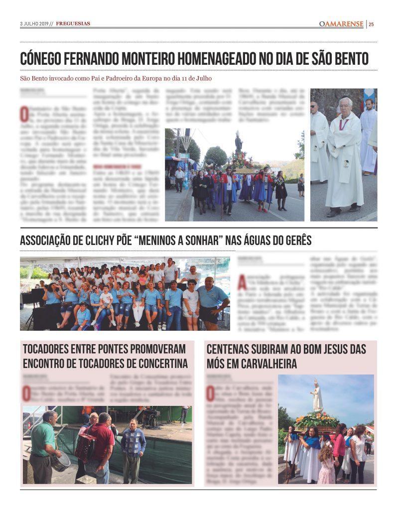 EDIÇÃO IMPRESSA – Cónego Fernando Monteiro homenageado no Dia de São Bento