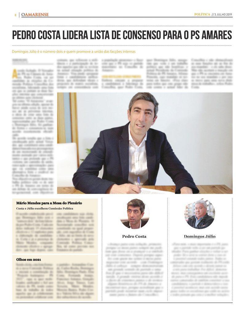 EDIÇÃO IMPRESSA – Pedro Costa lidera lista de consenso para o PS Amares