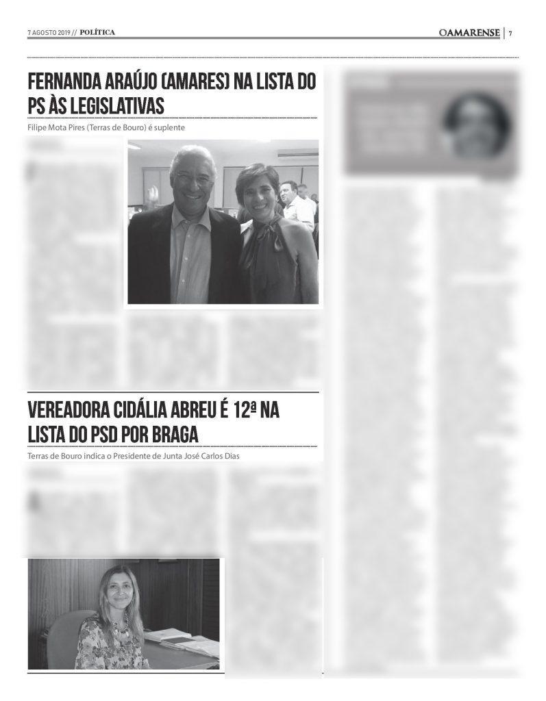 EDIÇÃO IMPRESSA – Fernanda Araújo (Amares) na lista do PS às Legislativas/ Vereadora Cidália Abreu é 12ª na lista do PSD por Braga