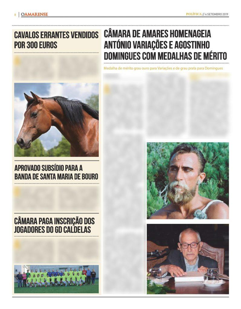 EDIÇÃO IMPRESSA –Variações e Agostinho Domingues agraciados com medalha de mérito municipal
