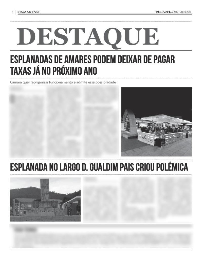 EDIÇÃO IMPRESSA - Esplanadas de Amares podem deixar de pagar taxas já no próximo ano