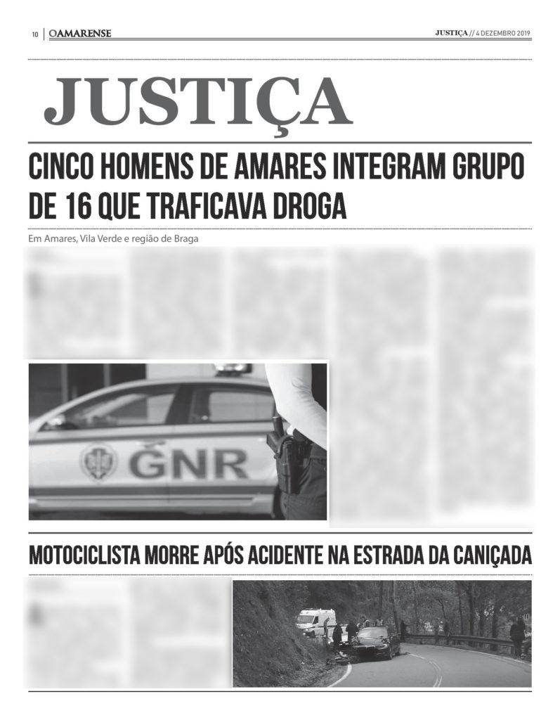 EDIÇÃO IMPRESSA – Cinco homens de Amares integram grupo de 16 que traficava droga