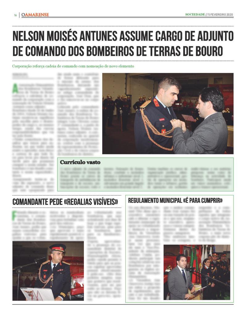 EDIÇÃO IMPRESSA – Nelson Moisés Antunes assume cargo de adjunto de comando dos Bombeiros de Terras de Bouro