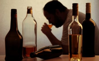 Alcoholic man drinking