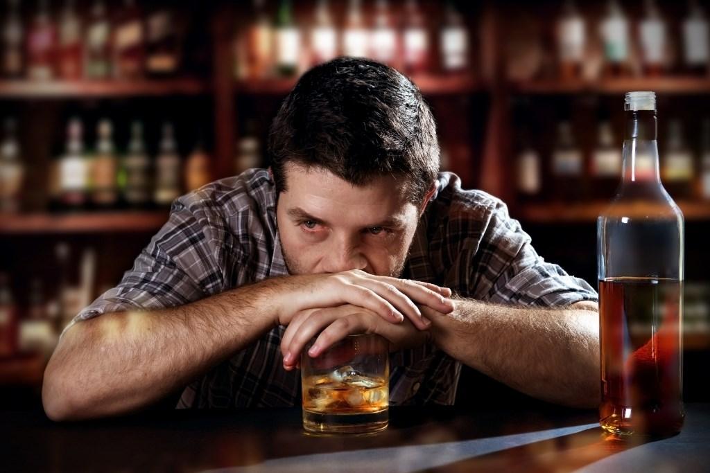 A depressed, alcoholic man contemplates life