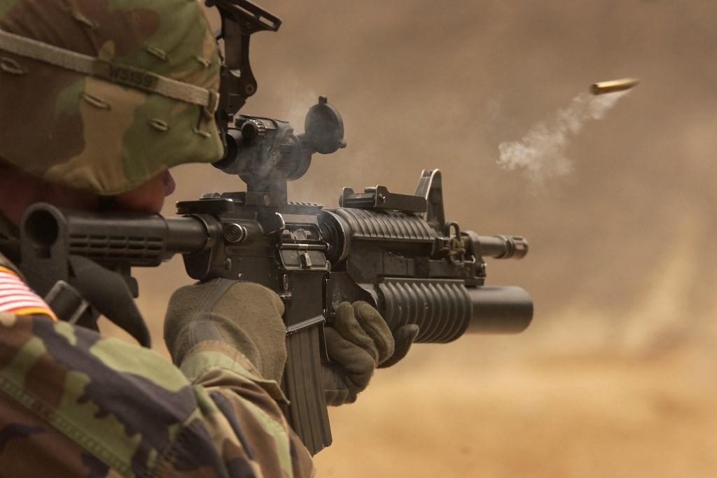 Soldier Firing Submachine Gun