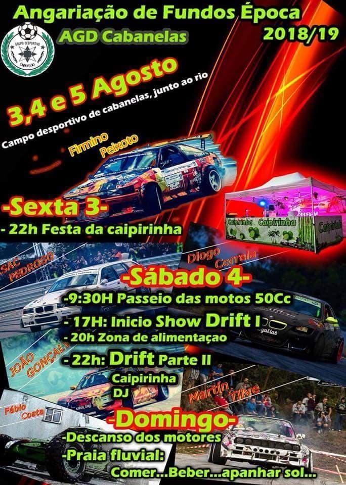 DIAS 3, 4 E 5 DE AGOSTOShow de Drift em Cabanelas para angariar fundos para a nova época