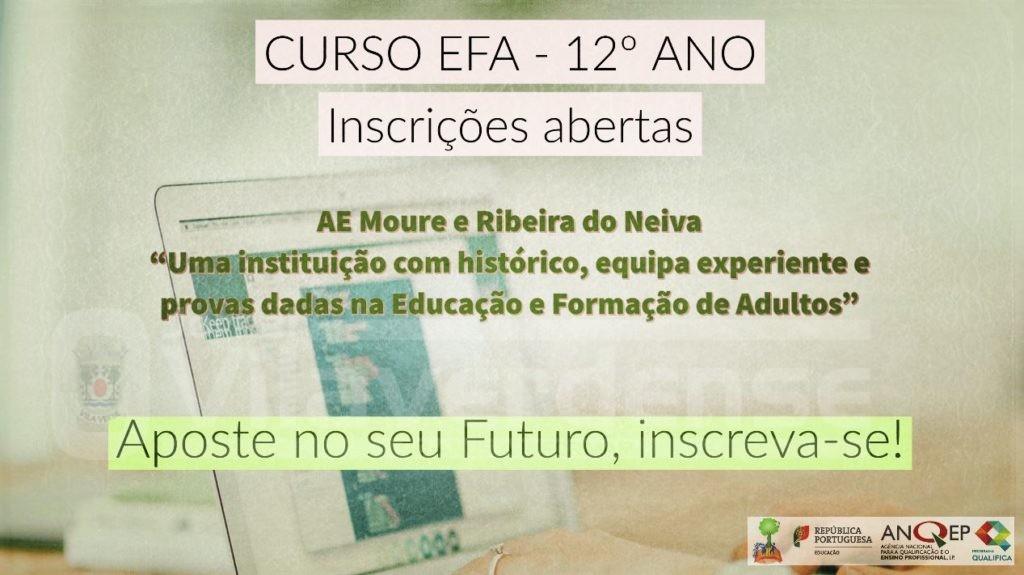 Equivalência 12º anoInscrições abertas para Curso EFA no Agrupamento de Escolas de Moure e Ribeira do Neiva