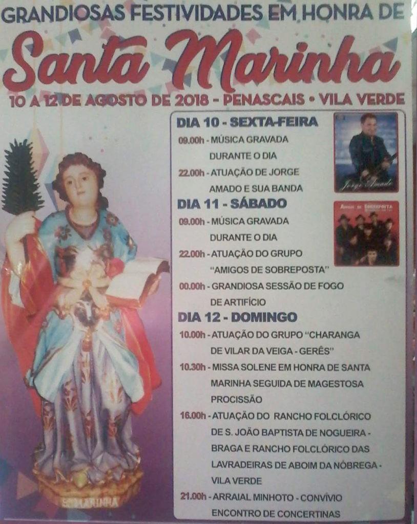 DIAS 10, 11 E 12 DE AGOSTO - Festividades em honra de Santa Marinha em Penascais