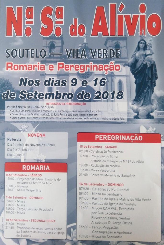SOUTELO – Celebrações em honra da Nossa Senhora do Alívio de 9 a 16 de Setembro