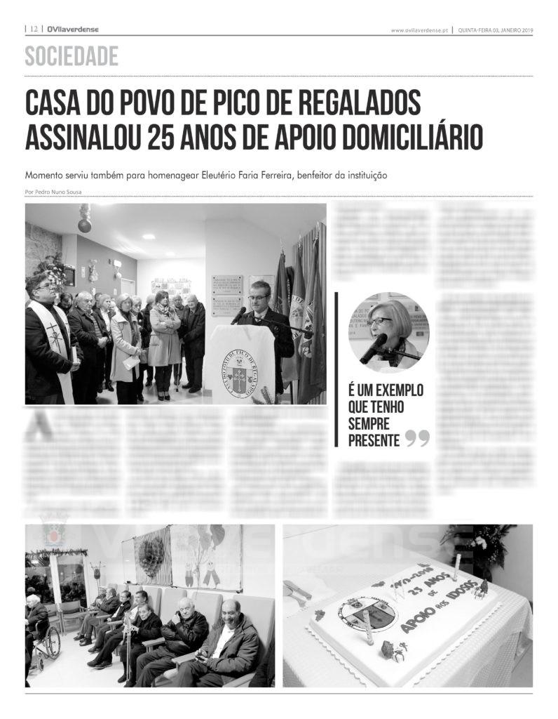 EDIÇÃO IMPRESSA -Casa do Povo do Pico de Regalados assinalou 25 anos de apoio domiciliário