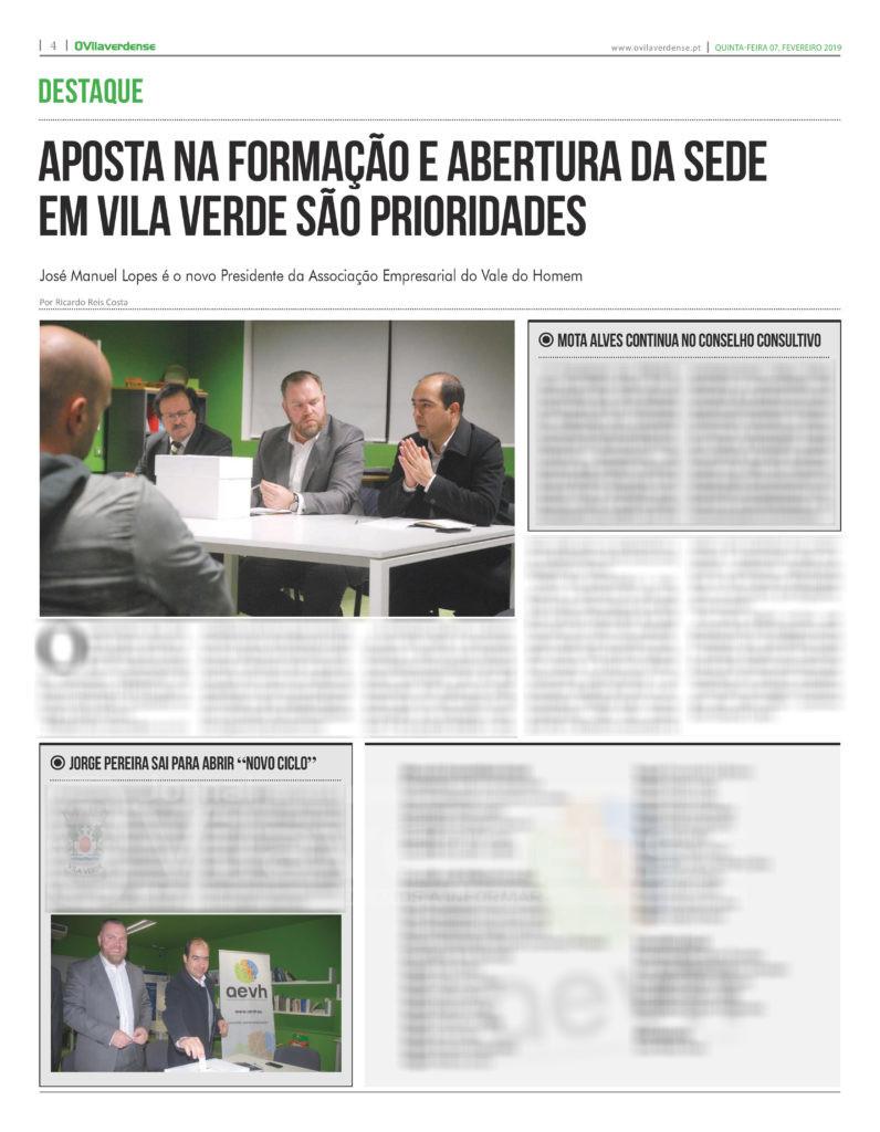 EDIÇÃO IMPRESSA –  Formação e abertura da sede em Vila Verde são prioridades da AEVH