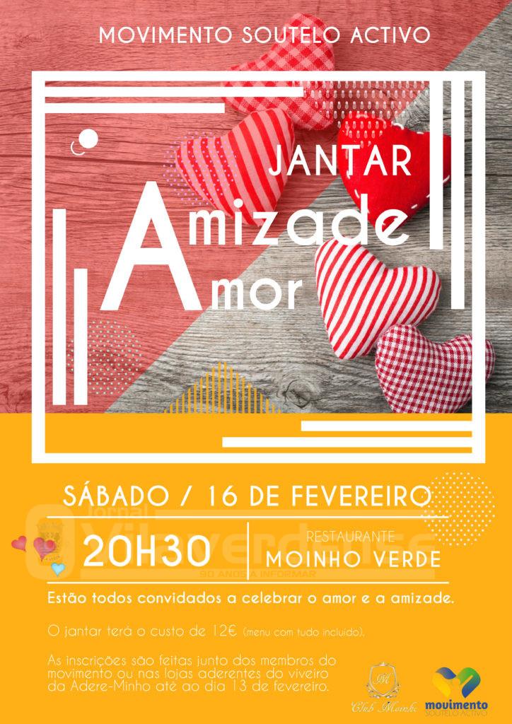 DIA 16 DE FEVEREIRO (inscrições): Movimento Soutelo Activo organiza jantar/convívio para celebrar a amizade e o amor