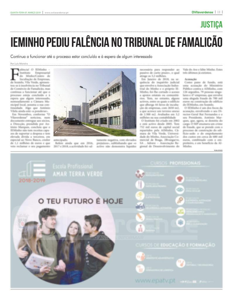 EDIÇÃO IMPRESSA –  IEMinho pediu falência no Tribunal de Famalicão