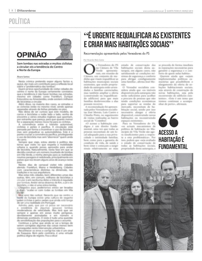 EDIÇÃO IMPRESSA –  PS diz que «é urgente requalificar as existentes e criar mais habitações sociais»