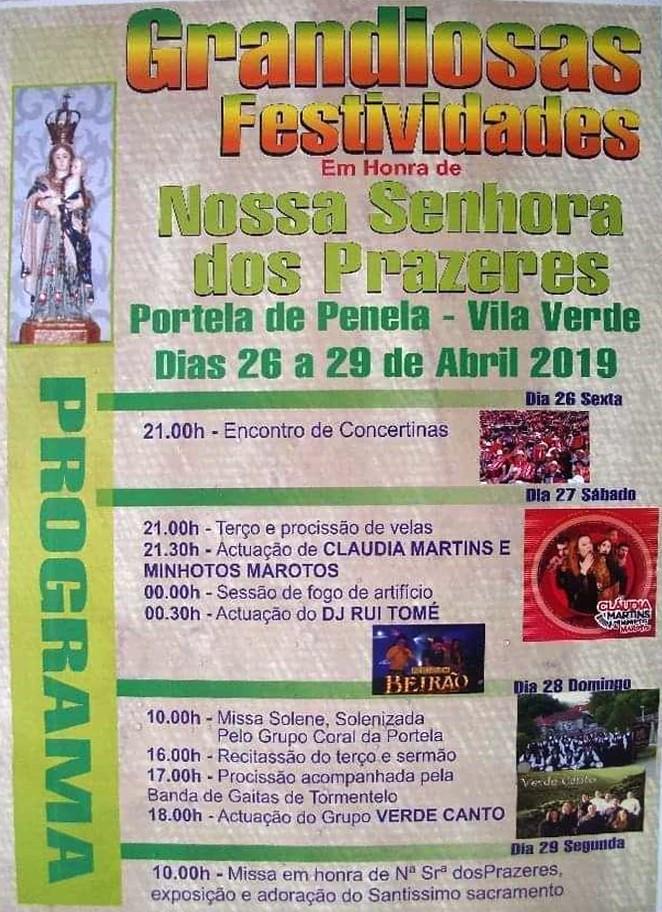 VILA VERDE - Festas em honra de Nossa Senhora dos Prazeres, em Portela de Penela, de 26 a 29 de Abril