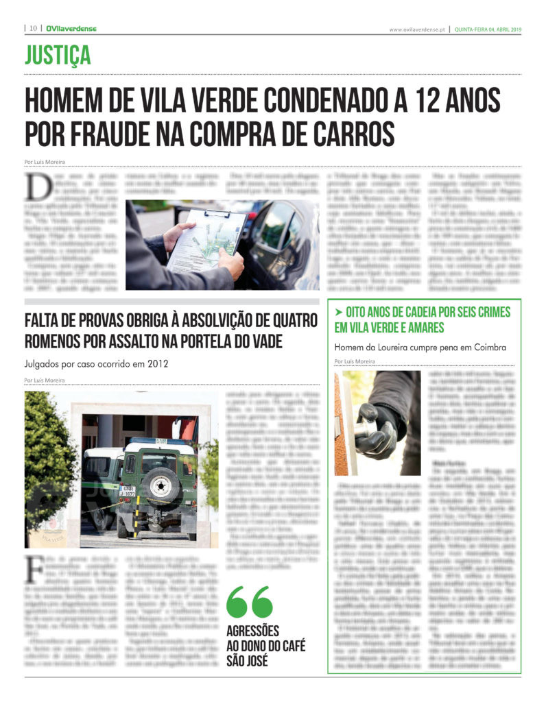 EDIÇÃO IMPRESSA – Homem de Vila Verde condenado a 12 anos por fraude na compra de carros