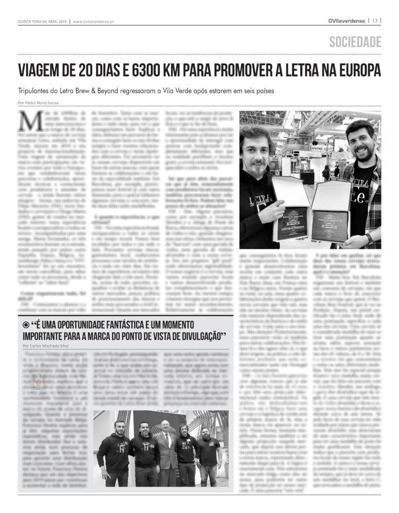 EDIÇÃO IMPRESSA - Viagem de 20 dias e 6300 km para promover a Letra na Europa