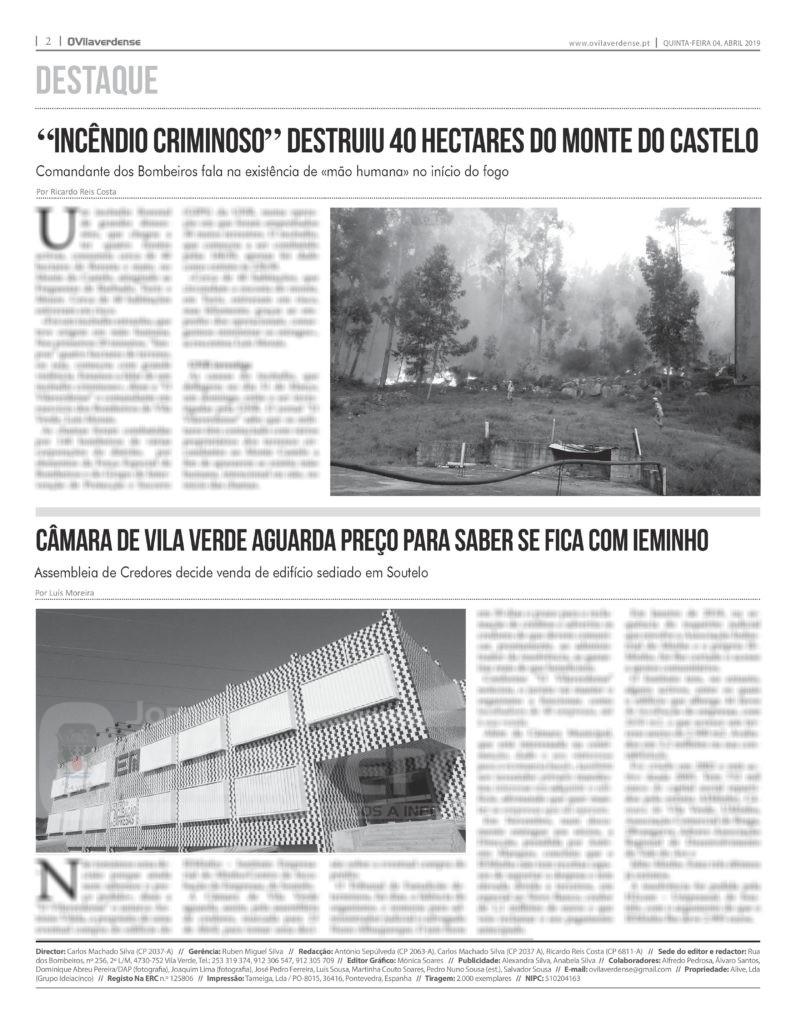 EDIÇÃO IMPRESSA – «Incêndio criminoso» destruiu 40 hectares do Monte do Castelo